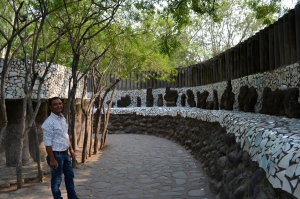 Rock garden in Chandigarh - made entirely from trash and recycled items.  To the left is our program coordinator, Sanjay
