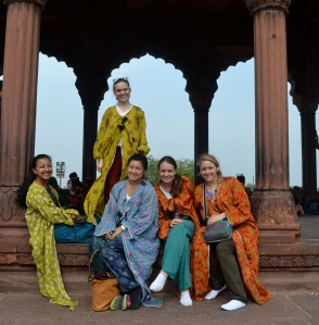 The girls and I at Jama Masjid.  We were given fashionable robes to cover up.
